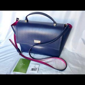 Arbour Hill Lilah Indigo Blue Pink Leather Bag